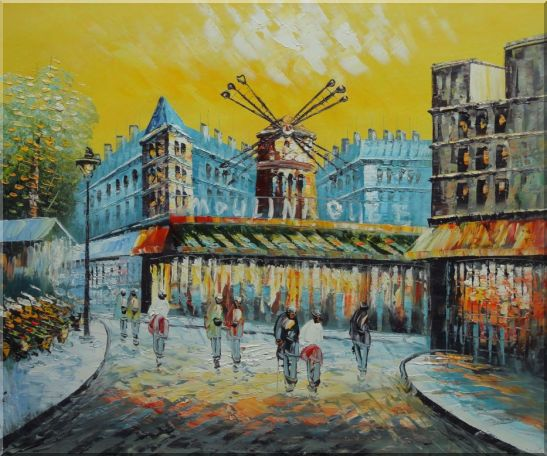 Moulin Rouge At Dusk Oil Painting Cityscape France Impressionism 20 x 24 Inches