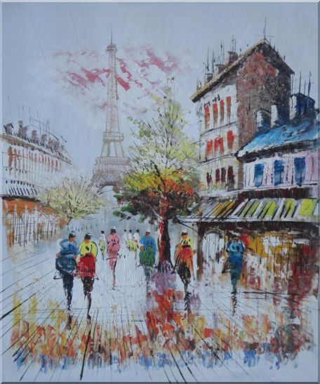A Moment In Paris with Eiffel Tower Oil Painting Cityscape France Impressionism 24 x 20 Inches