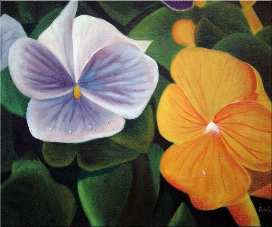Purple and Yellow Flowers with Morning Dew Oil Painting Naturalism 20 x 24 Inches