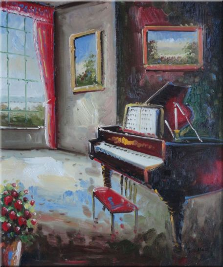 Elegant Living Room with Piano and Wall Painting Oil Cityscape Classic 24 x 20 Inches