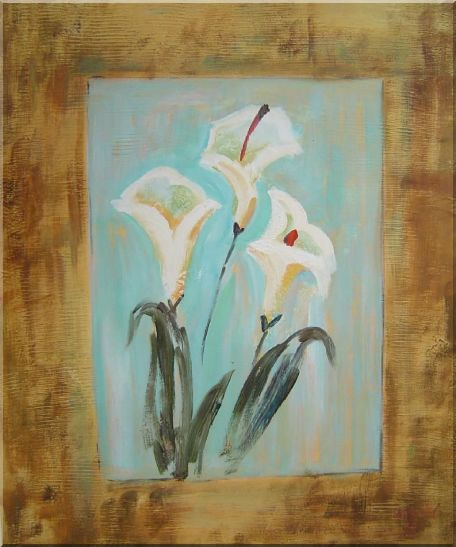 White Lilies Oil Painting Flower Still Life Lily Modern 24 x 20 Inches