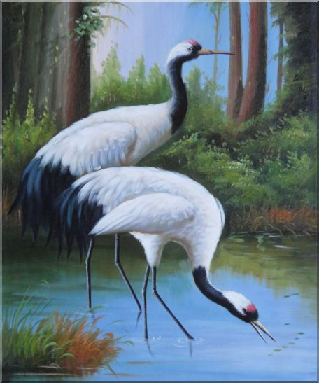 Two Graceful Red Crowned Cranes Play in Water Oil Painting Animal Bird Classic 24 x 20 Inches