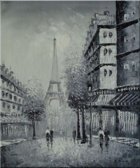 Another Look At Paris, Intoxicated Again Oil Painting Cityscape France Black White Impressionism 24 x 20 Inches