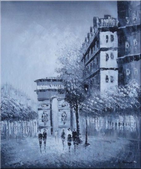 People Walking On Street With View of Arc de Triomphe Oil Painting Cityscape France Black White Impressionism 24 x 20 Inches
