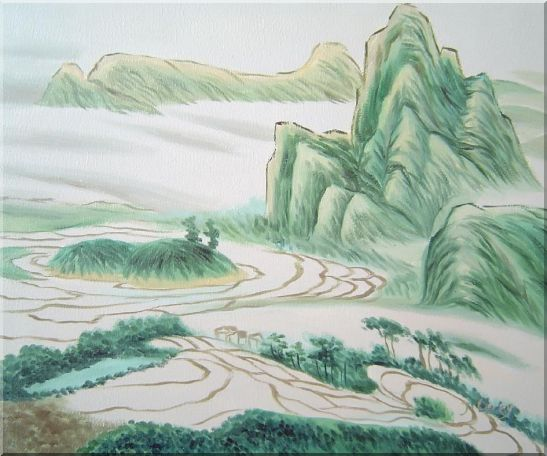 Oriental Mountain and Farm Fields Oil Painting Landscape Asian 20 x 24 Inches