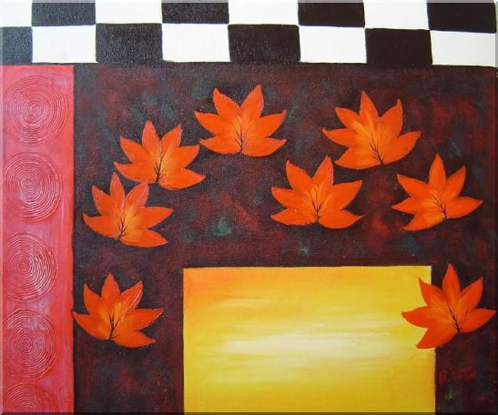 Maple Leaf, Abstract Autumn Scene Oil Painting Flower Modern 20 x 24 Inches