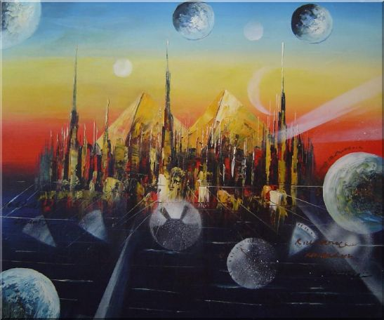 Metropolitan Oil Painting Cityscape Modern 20 x 24 Inches