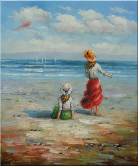 Two Girls Flying Kite Joyfully On Beach Oil Painting Portraits Child Impressionism 24 x 20 Inches