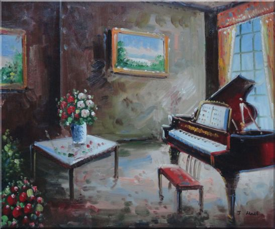 Age-Old Room with Piano, Flowers, And Wall Art Oil Painting Cityscape Impressionism 20 x 24 Inches