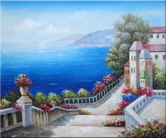 Favorite Mediterranean Garden Steps Oil Painting Impressionism 20 x 24 Inches