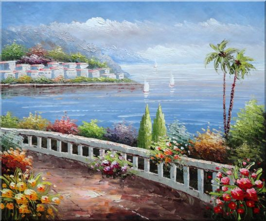 Beautiful Mediterranean Seaside Walk with Flowers Oil Painting Naturalism 20 x 24 Inches