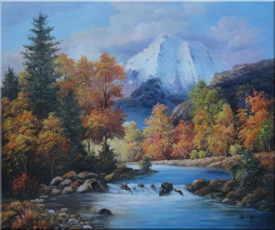 Beautiful Landscape with River, Autumn Tree and Snow Mountain Oil Painting Naturalism 20 x 24 Inches