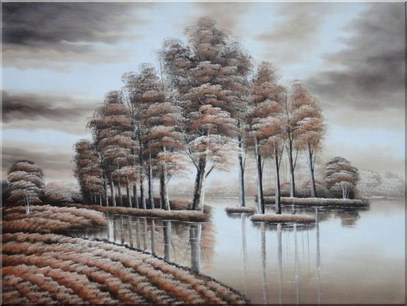Trees and Reflections in a Light Brown Landscape Oil Painting Decorative 36 x 48 Inches