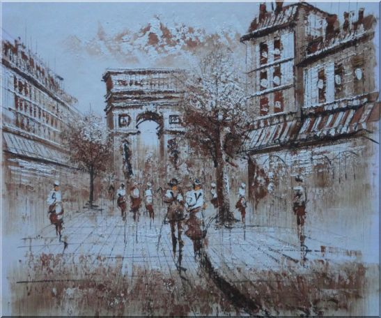 Tourists Enjoy Themselves Near Arc de Triomphe At Dusk In Brown Oil Painting Cityscape France Impressionism 20 x 24 Inches