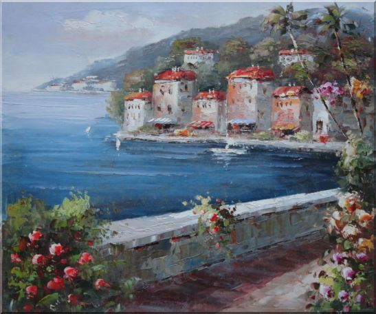 Peaceful Scenic Mediterranean Walkway Oil Painting Naturalism 20 x 24 Inches
