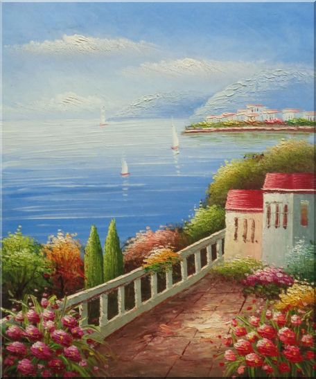 Sailing Near Mediterranean Coast - 2 Canvas Set 2-canvas-set,mediterranean naturalism  24 x 40 inches