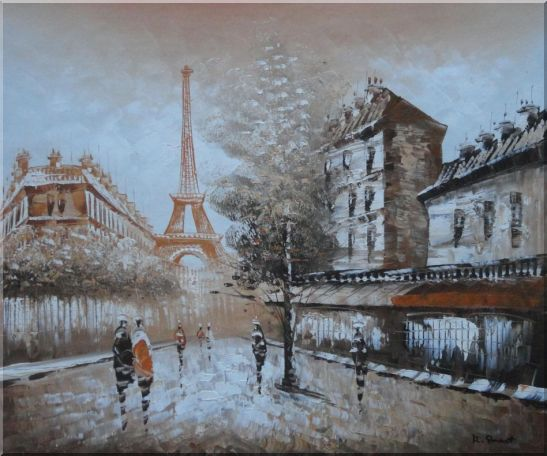 Tour Eiffel, People and Street Oil Painting Cityscape France Impressionism 20 x 24 Inches