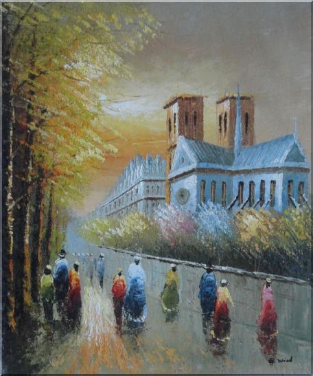 Relaxing Time near Notre Dame Oil Painting Cityscape France Impressionism 24 x 20 Inches