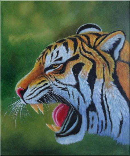 A Fierce Tiger Head in Green Background Oil Painting Animal Naturalism 24 x 20 Inches
