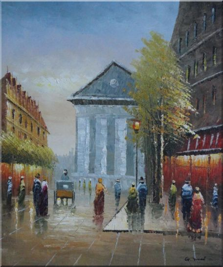 Street Scene Rue Royale, Madeleine Oil Painting Cityscape France Impressionism 24 x 20 Inches