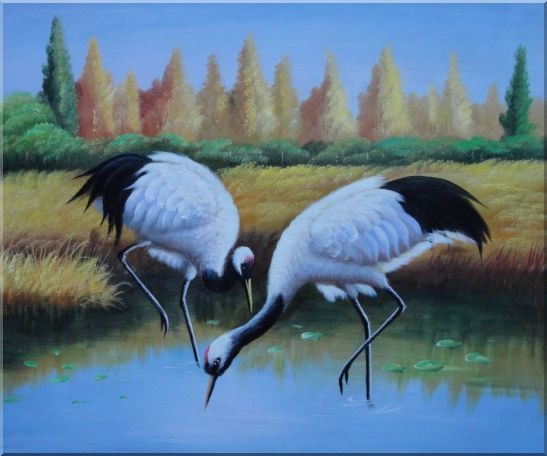 Pair of Red-Crowned Cranes Catch Fishes Pond Oil Painting Animal Bird Naturalism 20 x 24 Inches