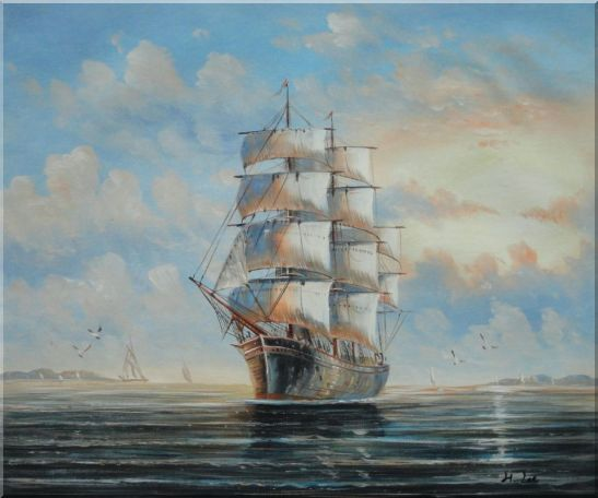 Sailing Ship's Oceangoing Voyage Oil Painting Boat Classic 20 x 24 Inches