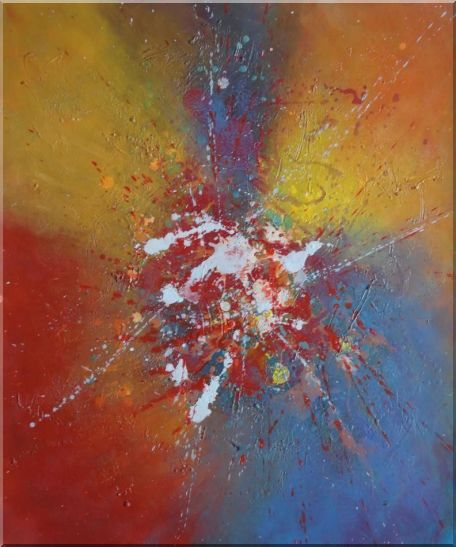 Abstract Colorful Splatters & Spots Oil Painting Nonobjective Modern 24 x 20 Inches