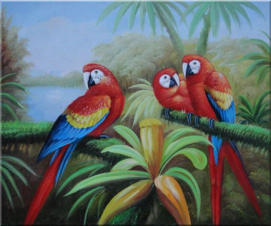 Three Red and Blue Parrots on Tree Oil Painting Animal Naturalism 20 x 24 Inches