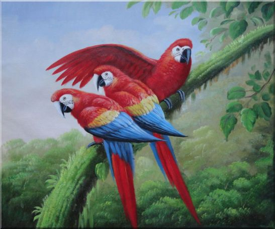 Three Red and Blue Macaw Parrots on Tree Oil Painting Animal Naturalism 20 x 24 Inches