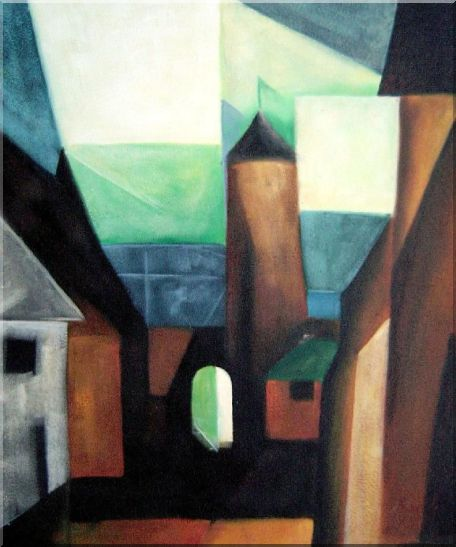 Space between Houses Oil Painting Cityscape Modern 24 x 20 Inches