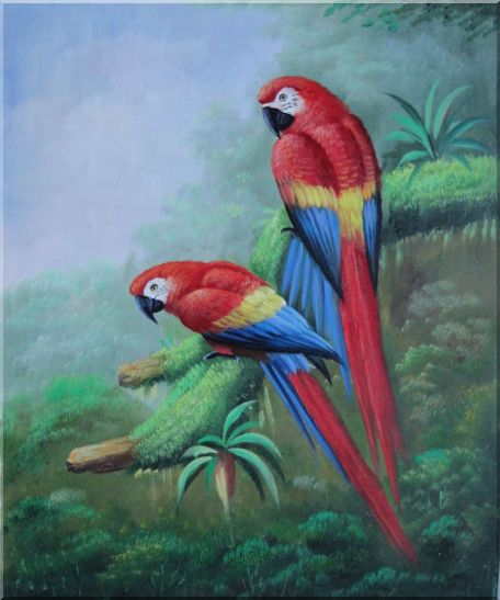 Pair of Red and Blue Parrots on Tree Oil Painting Animal Naturalism 24 x 20 Inches