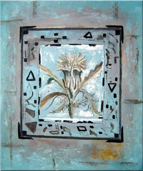 White Flower in a Frame Oil Painting Nonobjective Modern 24 x 20 Inches