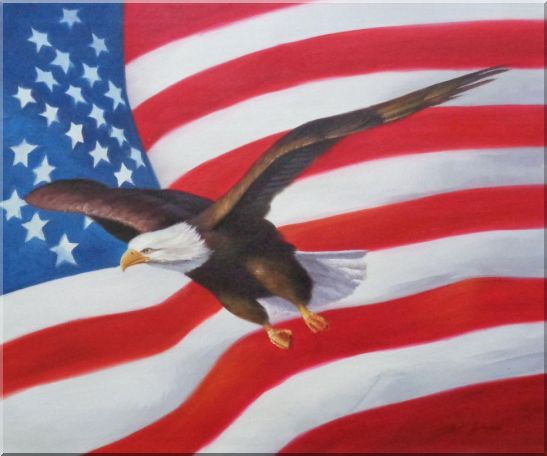 Flying Bald Eagle with American Flag Oil Painting Animal Naturalism 20 x 24 Inches
