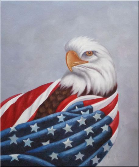 American Eagle / USA Flag Oil Painting Animal Naturalism 24 x 20 Inches