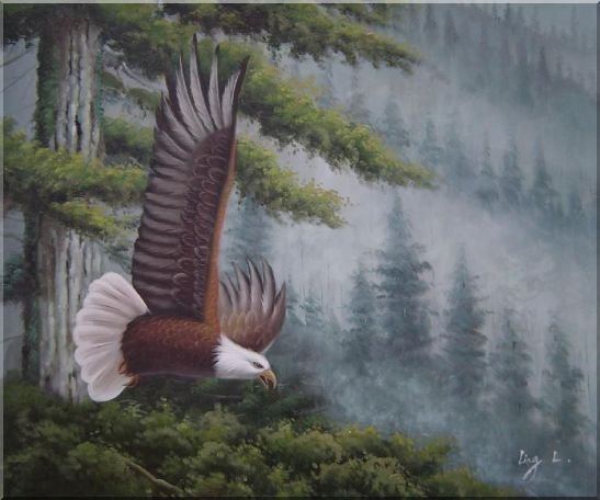 American Bald Eagle and Mountain Forest Oil Painting Animal Naturalism 20 x 24 Inches