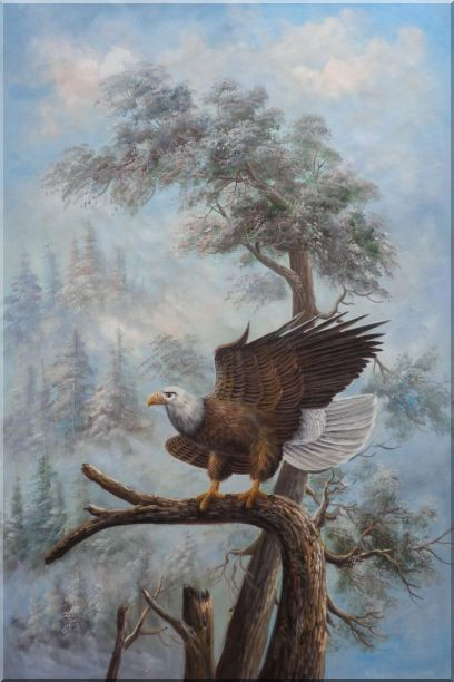 A Graceful Bald Eagle Stop on A Tree Oil Painting Animal Naturalism 36 x 24 Inches