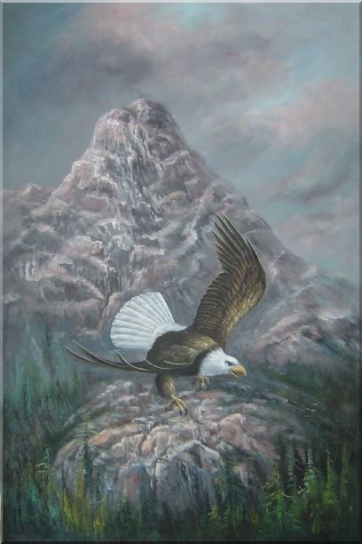 Bald Eagle in Smoky, Lofty Mountain Oil Painting Animal Naturalism 36 x 24 Inches