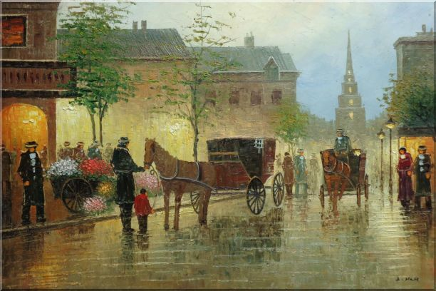 Horse Carriages And Peoples On Street at Dusk Oil Painting Cityscape Impressionism 24 x 36 Inches