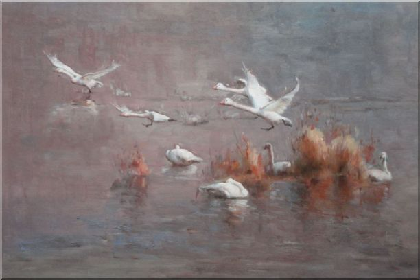 A Group of Swans Taking off from Swamp Oil Painting Animal Impressionism 24 x 36 Inches