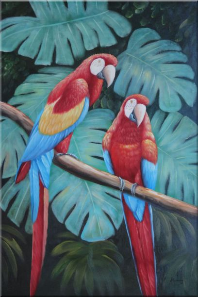 Pair of Blue-and-red Macaws on Tree Branch Oil Painting Animal Parrot Naturalism 36 x 24 Inches