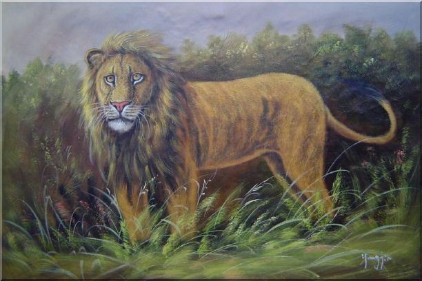 The Lion King in Jungle Field Oil Painting Animal Naturalism 24 x 36 Inches