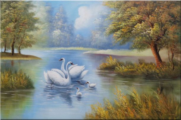 Swans in Peaceful Water Landscape - 2 Canvas Set 2-canvas-set,animal, swan classic  24 x 72 inches