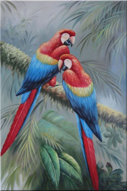 Two Lovely Parrots Singing On a Old Tree Branch Oil Painting Animal Naturalism 36 x 24 Inches