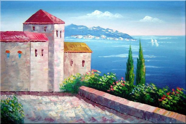 Red Roof House at Mediterranean Serenity Bay Oil Painting Impressionism 24 x 36 Inches
