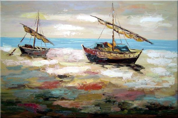 Two Small Boats Dock on Beach Oil Painting Impressionism 24 x 36 Inches
