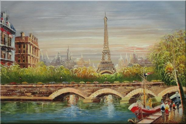 Paris Eiffel Tower River Seine Bridge Boat Oil Painting Cityscape France Impressionism 24 x 36 Inches