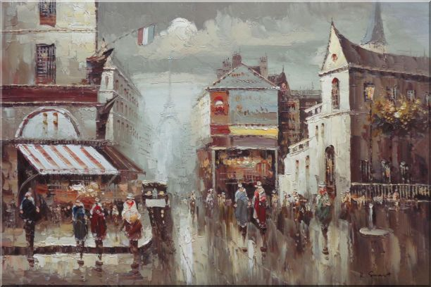 Busy Paris Street Sence Near Eiffel Tower Oil Painting Cityscape France Impressionism 24 x 36 Inches