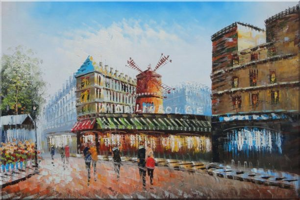 The Moulin Rouge in Paris of France Oil Painting Cityscape Impressionism 24 x 36 Inches