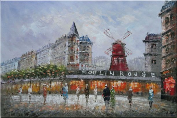 The Moulin Rouge At Night Oil Painting Cityscape France Impressionism 24 x 36 Inches