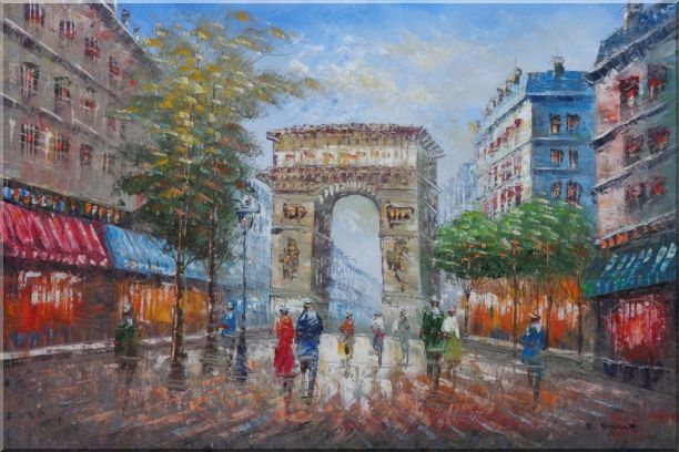 Twilight At Arc De Triomphe of Paris Oil Painting Cityscape France Impressionism 24 x 36 Inches